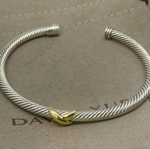 David Yurman 4mm X Bracelet & 18k Gold